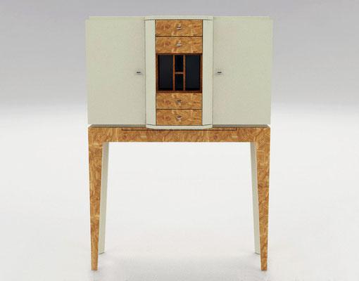 FRAGMENTS cabinet 2  - marqueterie en citronnier - acajou - cuir ivoire