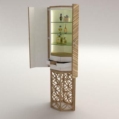 ROSACE cabinet - chêne - zebrano - cuir - verre