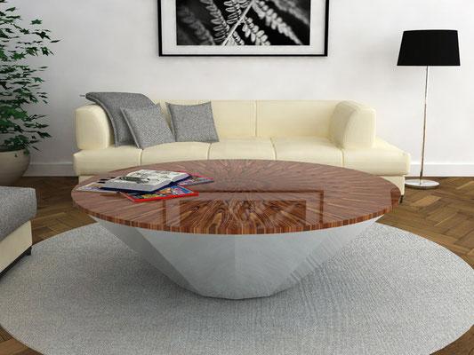 POLYGON table basse 1 - piètement acier brossé - marqueterie en palissandre