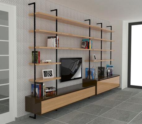 aménagement bibliothèque / meuble télé à La Rochelle - chêne doré - acier laqué - laque chocolat
