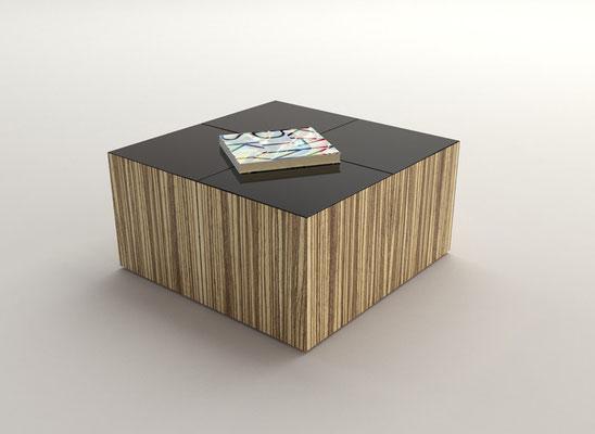 QUATRO table basse 1 - placage zebrano - verre laqué