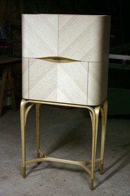 EXCELSIOR cabinet  - chêne blanchi - frêne cintré - marqueterie en citronnier - ébène de macassar - cuir ivoire