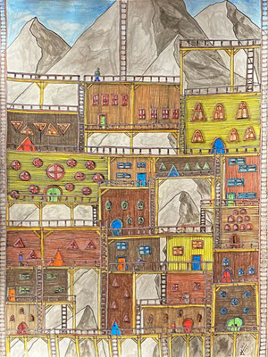 Mountain Village on Beams, Ink and coloured pencils on paper, DIN A4, 2021