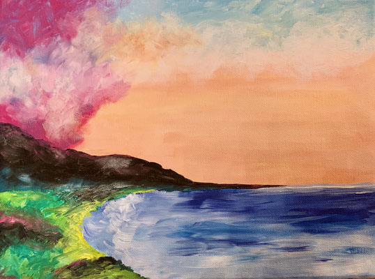 Acrylic Landscape on canvas N° I, 2019, 40 x 30 cm