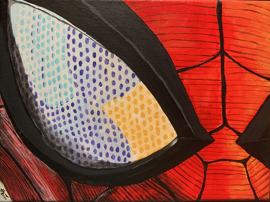 Spiderman Close-Up, Acrylic on canvas, 24x18cm, 2020