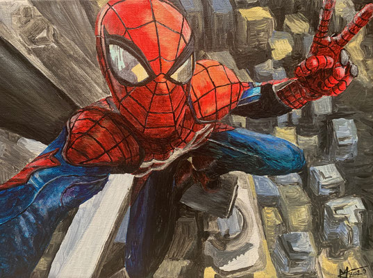 Spiderman, Acrylic on canvas, 24x18cm, 2020