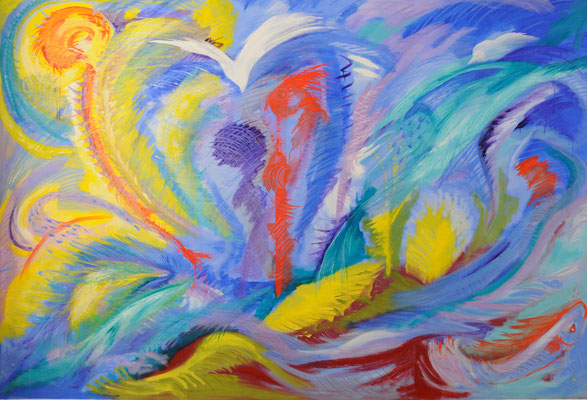 Lac Leman, Acrylique sur toile, de Grethe KNUDSEN, 1,9 x 2,8 m, 2014