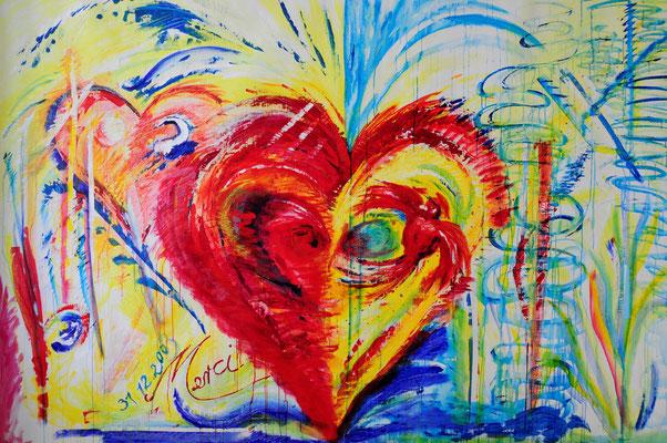 Reveillon 2003/4, Acrylique sur toile, de Grethe KNUDSEN, 2 x 3 m, 2004