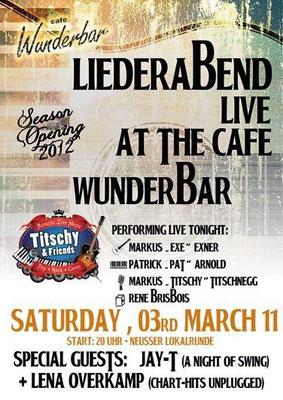 """Flyer zu """"Titschy & Friends"""" im Rahmen der Neusser Lokalrunde 2012"""