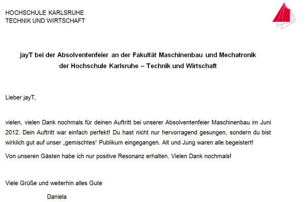 Dankschreiben Absolventenfeier der Hochschule Karlsruhe vom 23.06.12