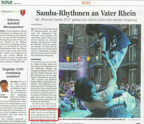 Zeitungsartikel aus der NRZ zur Rheinart Karibisch 2012