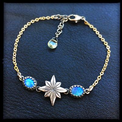 Starborn Bracelet - Sterling Silver, Gold, Opals, Aquamarine
