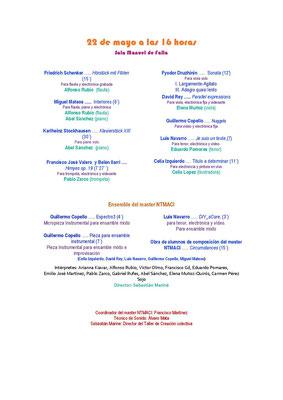 Programa 22-5-21. Real Conservatorio Superior de Música de Madrid