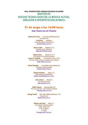 Programa 21-5-21. Real Conservatorio Superior de Música de Madrid