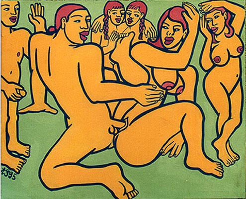 Die 7. Nacht, Dispersion on wood, 125x155 cm, 1995