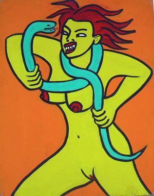 Kampf mit der Schlange, acryl on canvas, 100 x 80 cm, 1993