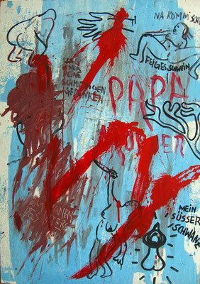 Papa Mörder, Dispersion on wood, 125 x 90 cm, 1994