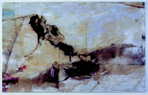 """""""leise wind und kreise"""", Décalcage auf Holz, 100 cm x 160 cm, 2003"""