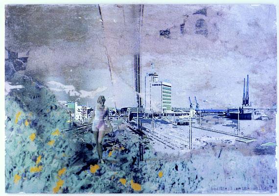 """""""woanders meine wolken"""", Décalcage auf Holz, 80 cm x1 28 cm, 2005"""