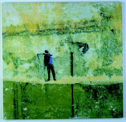 """""""höre und stecke worte ein"""", Décalcage auf Holz, 83 cm x 87 cm, 2003"""