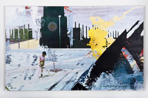 in der stille finde ich meine größe, Décalcage auf Holz, 85 cm x 135 cm, 2007