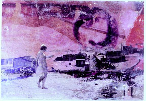 """""""glühe meines Herzens wunsch"""", Décalcage auf Holz, 60 cm x 113 cm, 2005"""