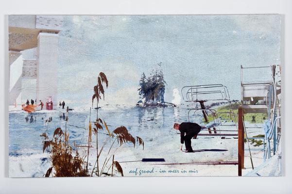 aufgrund - im Meer in mir, Décalcage auf Holz, 85 cm x 135 cm, 2007