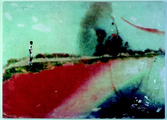 """""""hier stehe ich nun und bin verletzt"""", Décalcages auf Holz, 85 cm x 120 cm, 2003"""