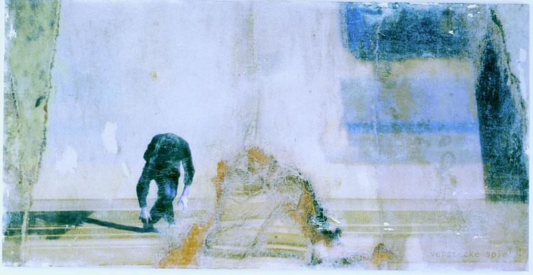 """""""verstecke spiel"""", Décalcage auf Holz, 50 cm x 98 cm, 2004"""