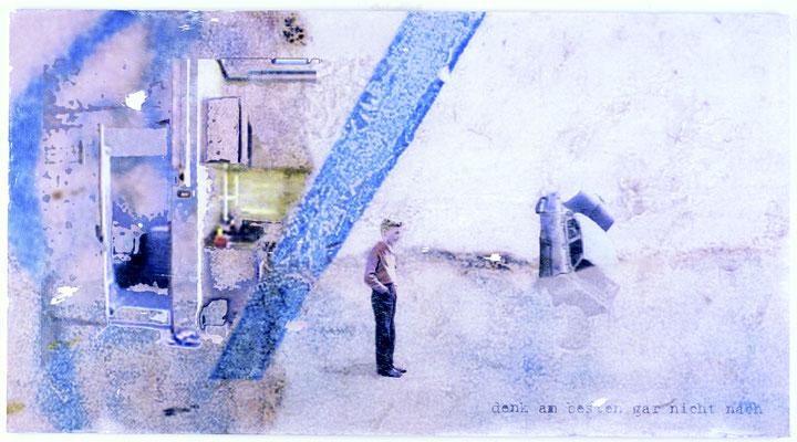"""""""denk am besten gar nicht nach, Décalcage auf Holz, 60 cm x 110 cm, 2005"""