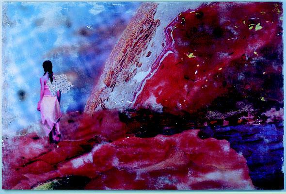 """""""wandele am rande mich"""", Décalcage auf Holz, 121 cm x 180 cm, 2003"""