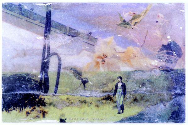 """""""bleibe wie der wind weht"""", Décalcage auf Holz, 80 cm x 122 cm, 2005"""