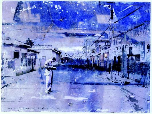 """""""was auch immer du siehst - sich"""", Décalcage auf Holz, 60 cm x 79 cm, 2005"""
