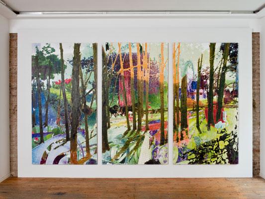 lichtung44, dreiteilig, 241 cm x 390 cm, 2008, Gallery Ars Agenda, Munich, 2010