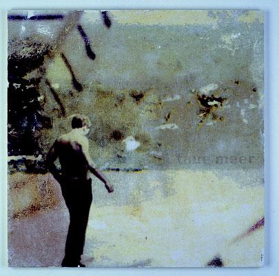 """taue Meer"", Décalcage auf Holz, 80 cm x 80 cm, 2003"