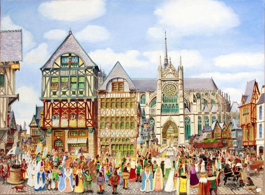 Cathédrale d'Amiens, procession à la vierge dorée.