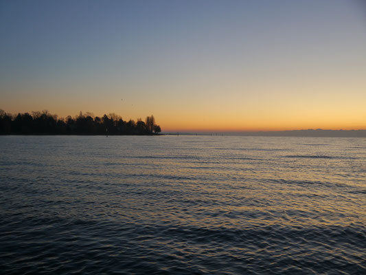 Winterlicher Sonnenaufgang im Konstanzer Trichter. Wunderschön, aber bitterkalt.