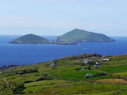 Deenish und Scariff Island vor dem Ring of Kerry. In dieser Gegend spielt mein neuer Roman.
