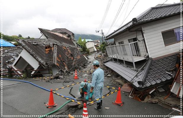 2016(平成28)年 繰り返した震度7の巨大地震。熊本地震 益城町 前震は4月14日午前9時26分に発生、16日午前1時25分に本震の発生。
