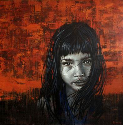La petite fille - Toile 1m x 1m - Acrylique