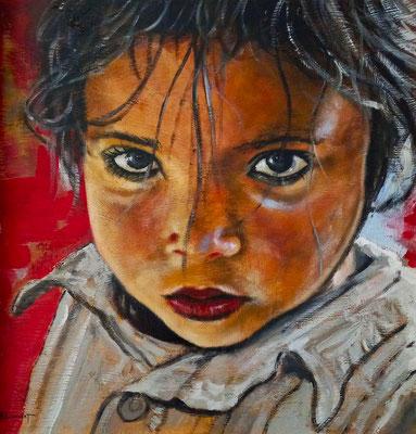 La petite fille aux yeux verts - 50 x 50 cm - Acrylique sur toile