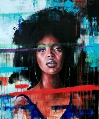 """"""" Black Girl """" - HUILE SUR TOILE 120 X 100 CM"""