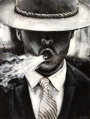 L'homme au chapeau - 70 X 90 cm - Acrylique et huile sur toile