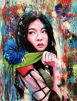 """"""" China girl """" - HUILE SUR TOILE 116 X 90 CM"""