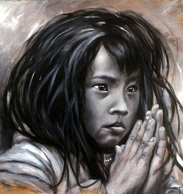 La prière - Toile 40 X 40 - Huile