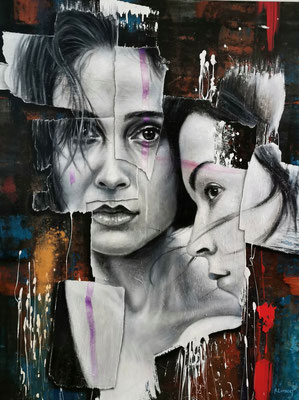 JUST TOGETHER  -   89 X 116 CM - HUILE SUR TOILE