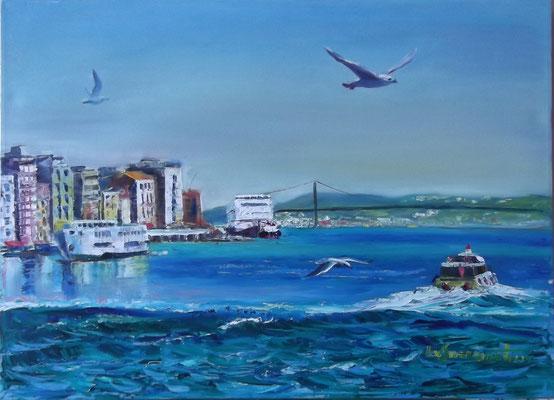 """Crossing the Bosphorus"", oil, canvas, 50x70cm, 2014"