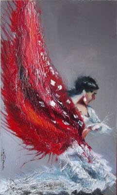 """The Landing Bird"", mixed media, oil&acrylics, board, 60x100cm, 2014"