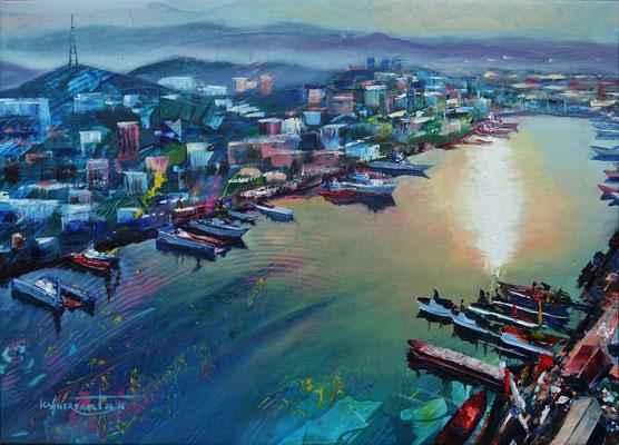 """ Vladivostok-Bay Zolotoy Rog"", oil, canvas, 50x60cm, 2016"