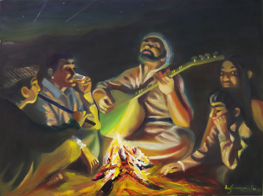 """Saz at Campfire"", oil, canvas, 60x80cm, 2013"